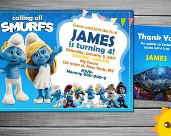 Smurfs Invitation Etsy
