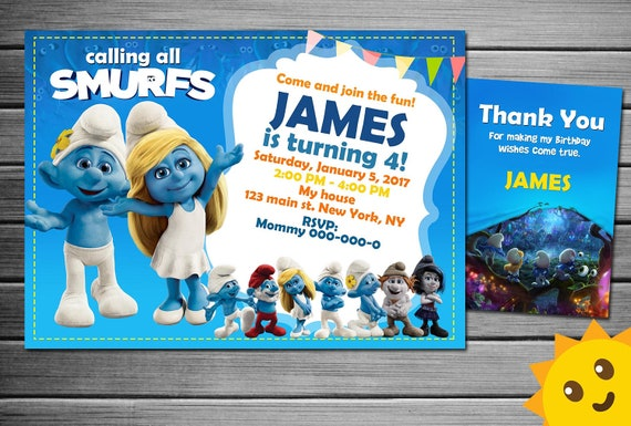 Smurfs Invitation Smurfs Birthday Smurfs Party Smurfs