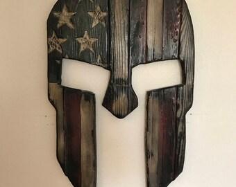 Spartan helmet, american flag spartan helmet, handmade disressed wood