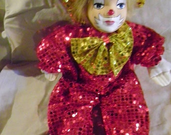 Vintage Porcelain Clown with Red Sequin Outfit