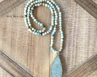 Natural Gemstones Necklace, Amazonite Necklace, Resort Necklace, Boho Jewelry, Beach Jewelry