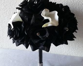 Black Rhinestone Rose Calla Lily Bridal Wedding Bouquet & Boutonniere