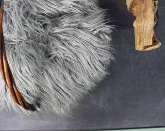 "18x20 Gray Mongolian Faux Fur, 3"" Long Pile Newborn Cuddly Faux Fur Nest Newborn,Baby Posing Photo Prop, Stuffer,PhotoProp Layering blanket."