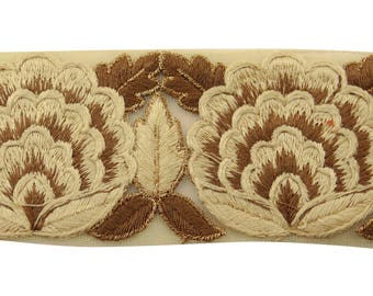 """Beige Ribbon Trim, Indian Net Fabric, Floral Embroidery, Designer Saree Border, 2.3"""" Inch Wide Ribbon By The Yard FT1023B"""