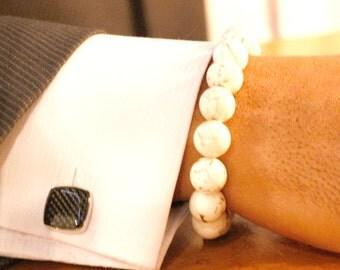 mens beaded bracelets/ mens bracelet/ mens white bracelet/ bracelets/gift for him/beaded bracelet/ mens jasper bracelet/ 12mm mens bracelet