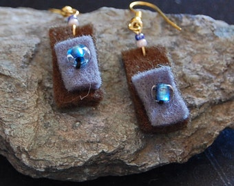 Boiled wool celestial earrings