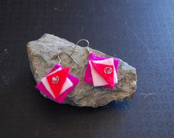 Boiled wool pink and red triangle earrings
