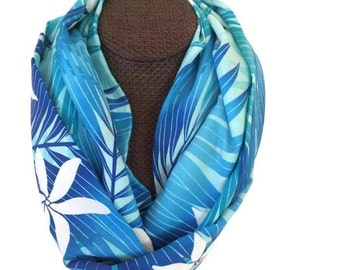 Aloha Floral Infinity Scarf. Blue. Lightweight Spring - Summer Loop Scarf. Gardenia and Palms. Island Accessories for Women. Made in HI.