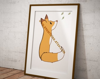 Autumn fox original drawing carton syle, DOWNLOAD