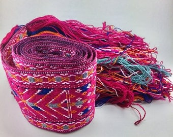 """Clearance!Women's Embroidered Belt,Hand Made in Tibet,Silk Embroidery,Pink Belt,Dimensions: 65""""X3"""", and fringe length 6.5"""" in addition"""