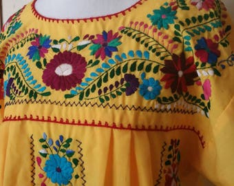 Embroidered Mexican Dress / Yellow Dress / Boho Dress / handmade dress