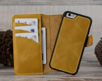 Mom Gift, Yellow Leather iPhone 6 Case, iPhone 6 Leather Case, iPhone 6S Case, iPhone 6S Leather Case, Detachable Magnet Wallet Case