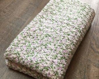 Green, Purple, White Baby Blanket - Crochet