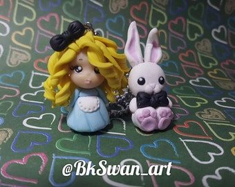 Polymer clay pendant Alice in Wonderland chibi