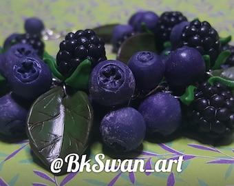 Polymer clay bracelet and earrings jewelry set Blueberry & BlackBerry