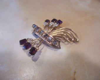 Purple Emerald Cut and Clear Rhinestone Brooch