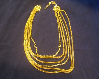 Monet Six Strand Chain Necklace, Signed
