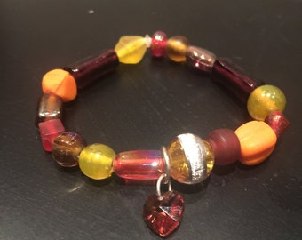 Autumn Love Heart Charm Bracelet