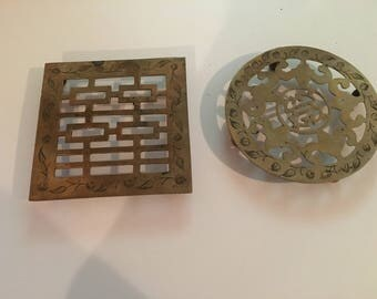 Pair of Brass Made in India 70s Trivets