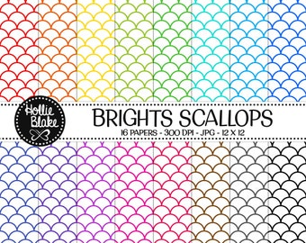 Buy 1 Get 1 Free!! 16 Bright Scallops Digital Paper • Rainbow Digital Paper • Commercial Use • Instant Download • #SCALLOPS-101-1-B
