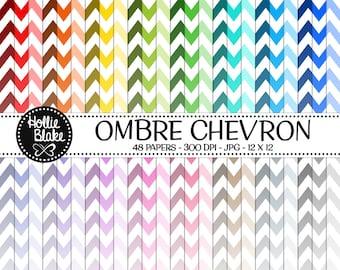 50% off SALE!! 48 Ombre Chevron Digital Paper • Rainbow Digital Paper • Commercial Use • Instant Download • #CHEVRON-107-O