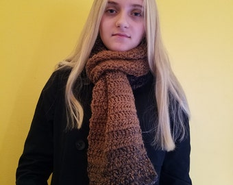 Long Crochet Scarf approximately 70 inches, Wool Scarf, Soft Scarf, Warm Scarf