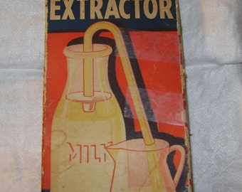 vintage CREAM EXTRACTOR in Original Box with Directions - Glass Tube and 2 Rubber Washers