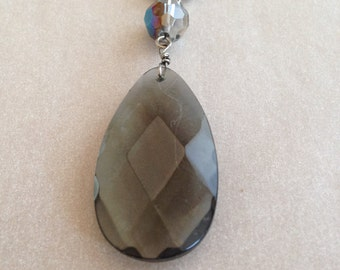 Vintage Faceted Smoky Teardrop and Crystal Bead Necklace