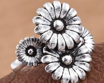 Sterling Quad Flower Ring