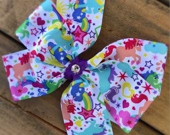 Unicorn hair bow, large hair bow, princess hair bow, purple hair bow, fairy tale, unicorn