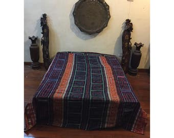 Vintage Handmade Tribal Hmong embroidered cotton blanket