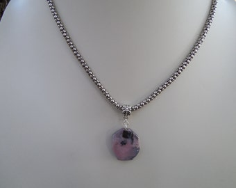 Pink Opal Pendant on Sterling Silver Chain