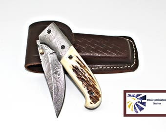 Custom Damascus Pocket Knife/ Stag Horn scales / Handmade by Titan Tf-011