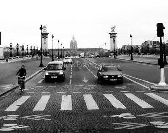 Paris, France wall art; black and white; street crossing; cars; crosswalk; cobblestone; bicycle; kitchen; bedroom; living room; decor