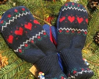 Upcycled Sweater Mittens, medium