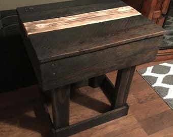 End table. Night stand. Primitive night stand. Primitive end table. Rustic night stand. Rustic end table. Table.