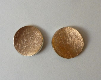 Ear studs (10 mm) 750 Rosé gold pink gold and silver
