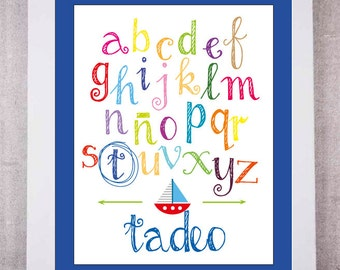 Set of 2 sheets children's personalized, printable ABC poster, picture baby, boy or girl, child decor