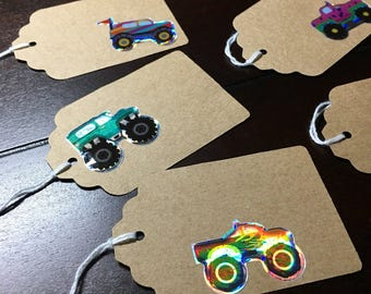 Monster Truck tags, Truck gift tags, Monster Truck Party theme, Goodie Bag Tags, birthday party favor tags - 10 per order