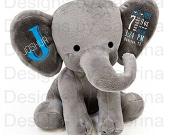 PERSONALIZED ELEPHANT-Personalized Baby Gift-Baby Shower Gift-Baby Gift-Plush Elephant-Stuffed Elephant-Birth Announcement-Baby Keepsake