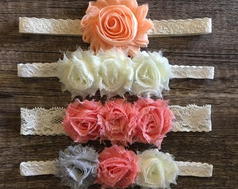 Baby, toddler, newborn, girls lace flower headband accessories