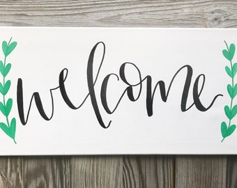 Welcome Sign - 10x20 canvas, welcome, welcome sign, welcome canvas, home decor, hand lettered sign, quotes on canvas, custom canvas