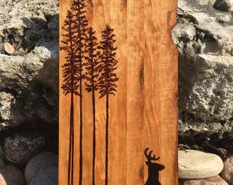 Cherry wood Deer Silhouette