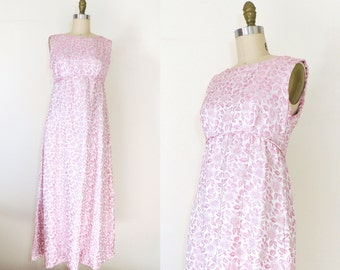Vintage 1960s pink floral brocade floor length gown | 60s party dress | 60s formal dress | 60s empire waist dress | pink prom dress | M