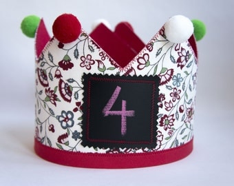 Floral Party Crown, personalise it with chalk. Imaginary play, Birthday accessory, Baby - Toddler