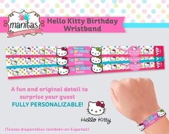 40 pack - Hello Kitty Birthday Wristband - Party Wristband - Custom Wristband - Paper Wristband - Personalized Wristband - Hello Kitty Cake