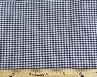 Navy Blue Gingham Check Fabric with Spandex - 2 3/4 yards