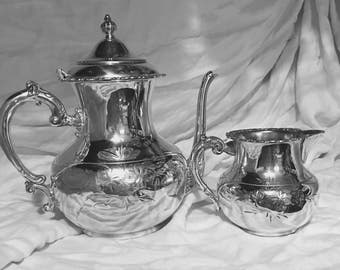 Van Bergh Quadruple Silver Plate Lidded Teapot and Creamer Pitcher