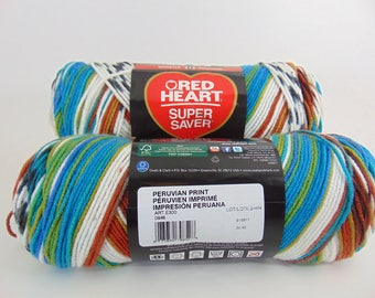 Peruvian Print -  Red Heart Super Saver variegated yarn 100% acrylic  worsted weight - 1801