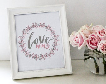Love Wins Valentine's Day Watercolor Printable - Pink & Gray